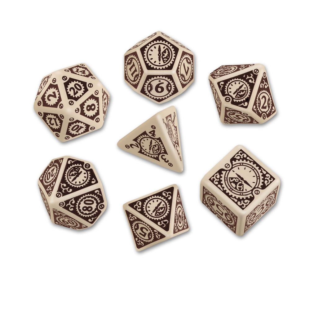 Dice: Q Workshop - Steampunk Clockwork Poly, Beige & Brown (x7)
