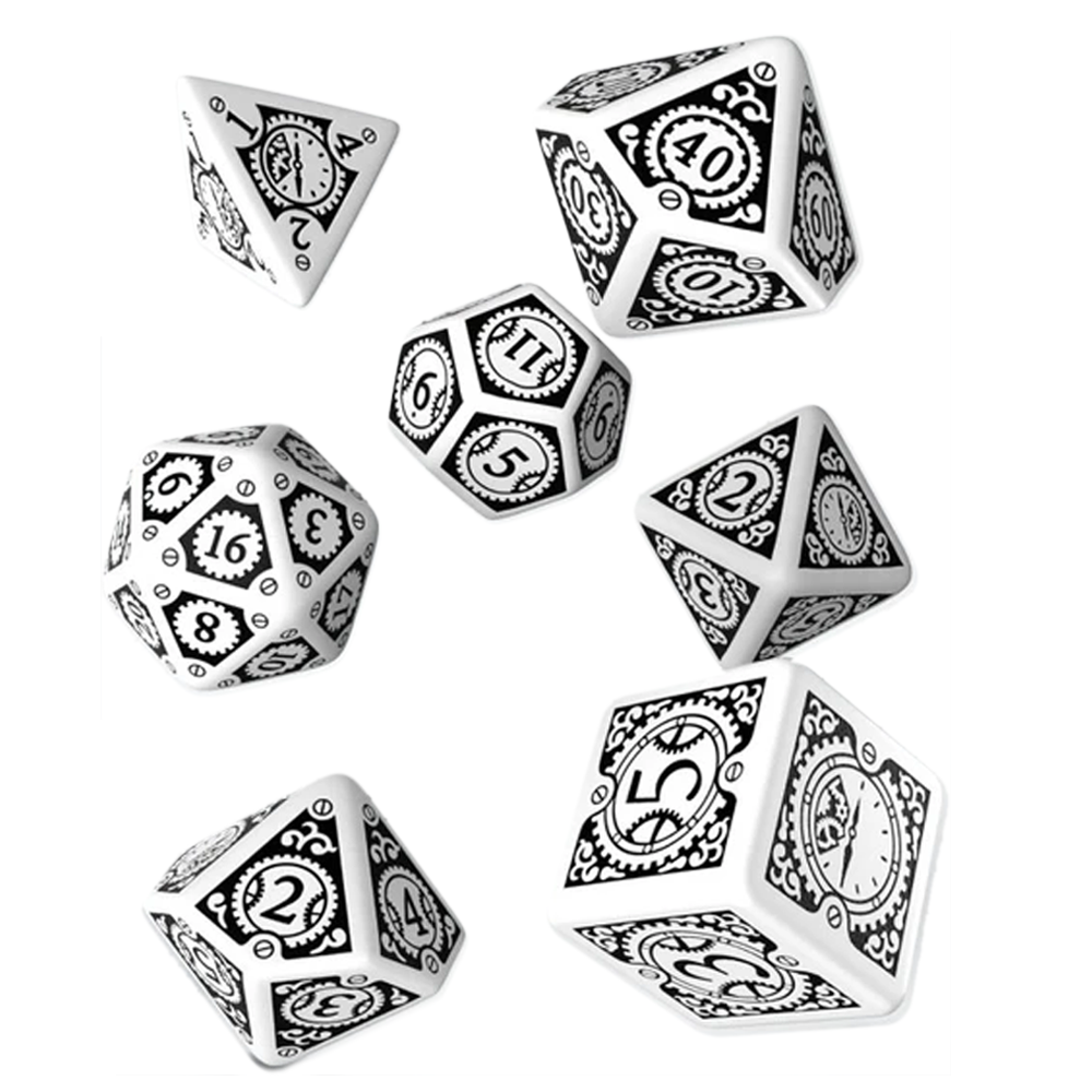 Dice QW: Steampunk Clockwork White/Black (Poly)