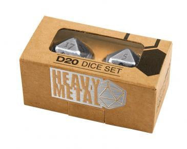 Dice UP: Heavy Metal D20 Dice Set - Chrome (x2)