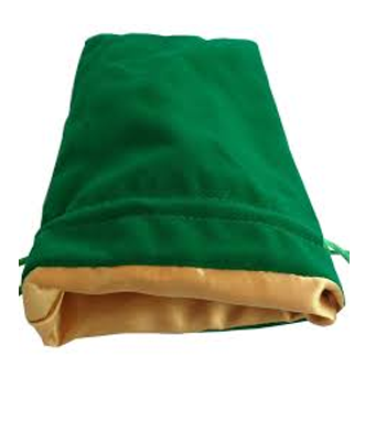 Dice Bag: MET Games - Velvet & Satin - Large, Green/Gold (6x8')