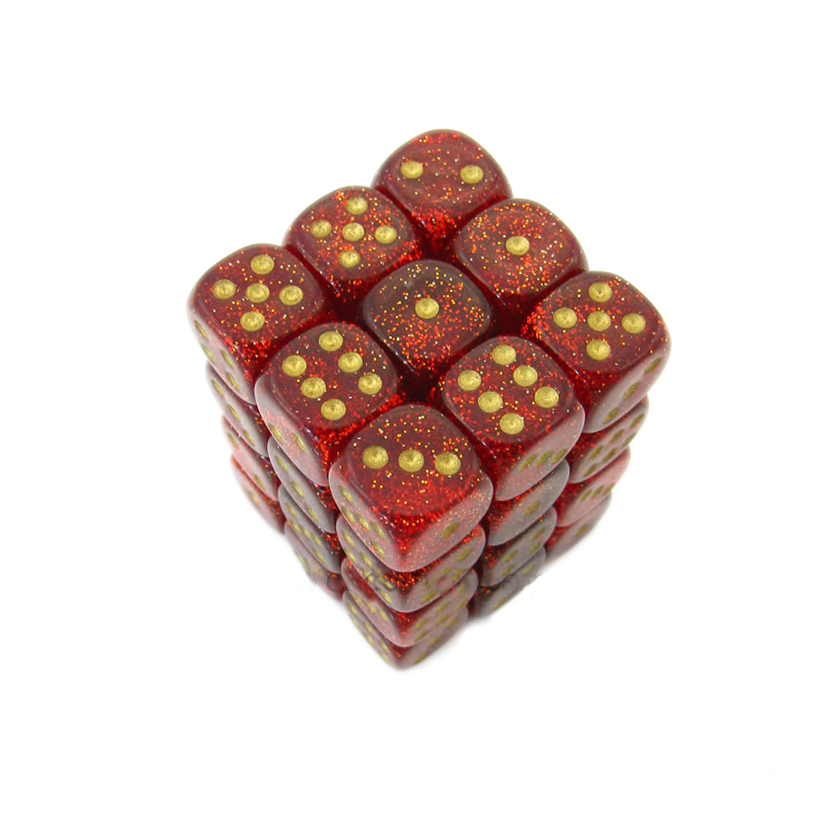 Dice: Chessex - Glitter - 12mm D6 (x36), Ruby/Gold