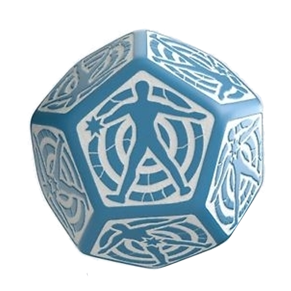 Dice: Q Workshop - D12 Hit Dice, Blue/White