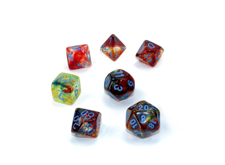 Dice: Chessex - Nebula - Poly Set (x7) - Luminary, Primary/Blue