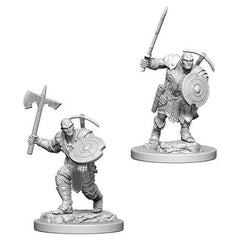 D&D RPG Minis: Nolzur Unpainted - Earth Genasi Male Fighter (x2)