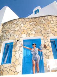 SANTORINI KNOTTED MINI DRESS