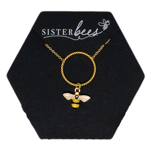 Circle Bee Pendant Necklace