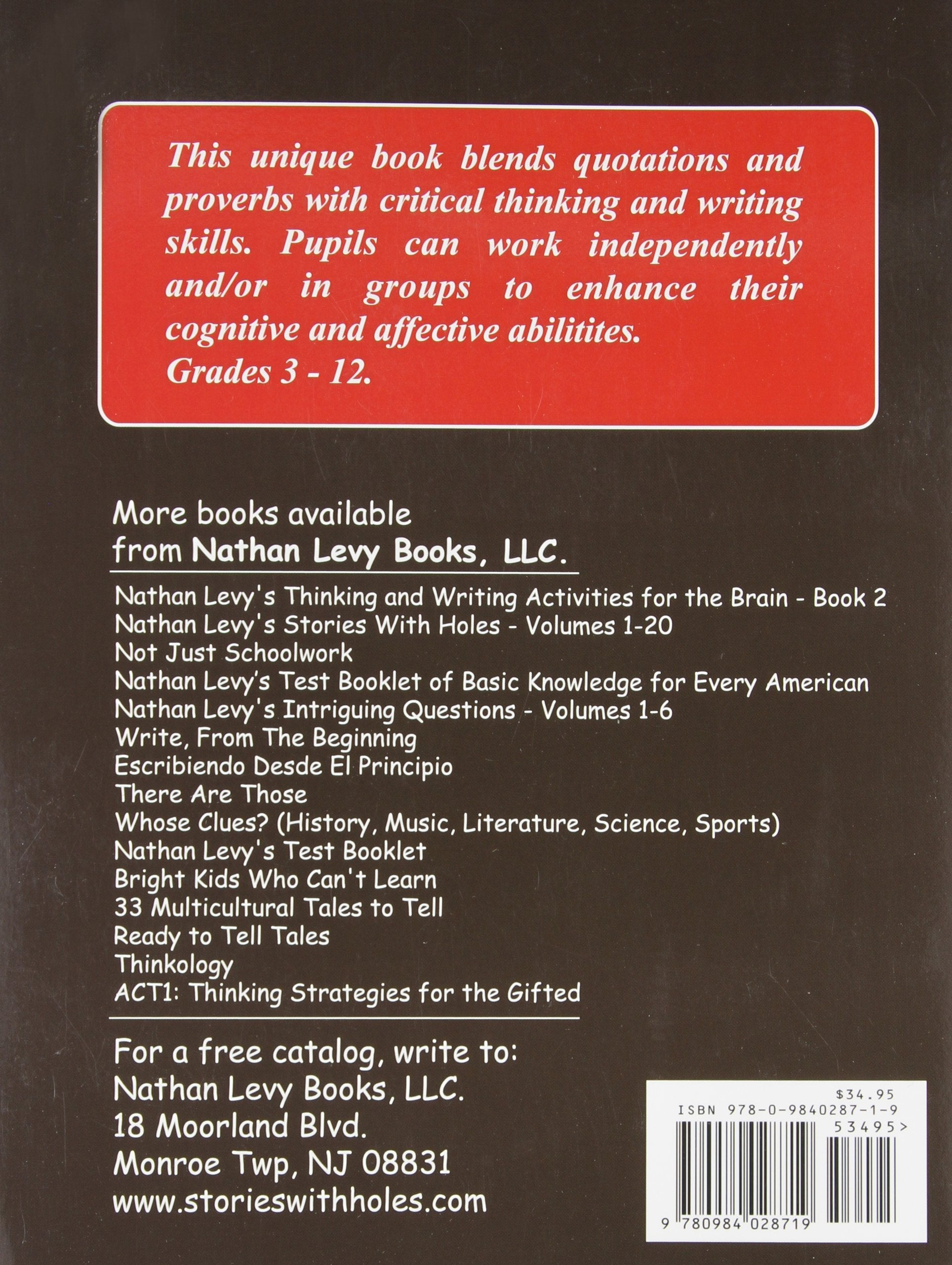 Thinking & Writing Activities for the Brain (Book 1)