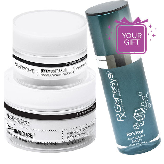 RxGenesys® Face & Eye Anti-Aging Set + Free RxVital™ Overnight Revitalizing Serum