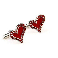 Silver and Red Heart Cufflinks