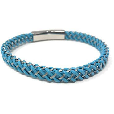 """PROMETHEAN""Unisex Multi Coloured Light Blue Braided Genuine Leather Bracelet in a Luxury Gift Box."