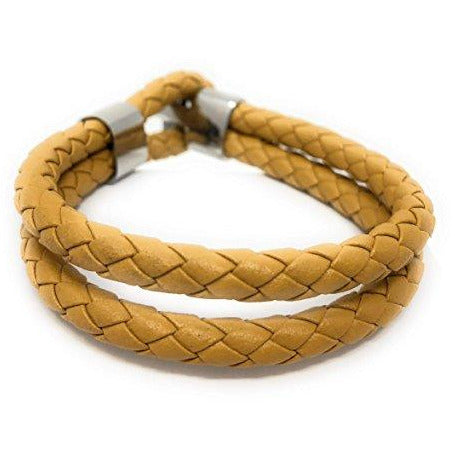 'ELYSIAN' unisex Double Wrap Leather (Yellow) Braided Bracelet in a Luxury Gift Box.