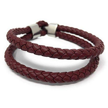 'ELYSIAN' Unisex Double Wrap Leather Braided Maroon Bracelet in a Luxury Gift Box.