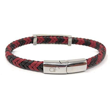 AZTEC Style Unisex Braided Genuine Leather Bracelet (Red Grey) in a Free Luxury Gift Box.