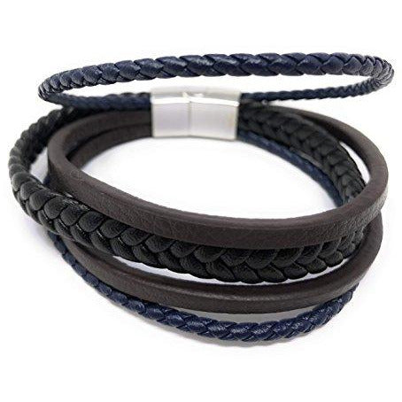 """ REIGN"" Unisex Multi Layered Mix Braided Genuine Leather Bracelet (Black Brown and Blue) in a Luxury Gift Box."