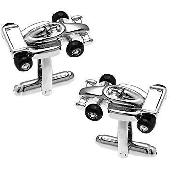 Silver Formula One Racing Car Cufflinks