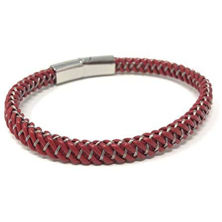 """PROMETHEAN""Unisex Multi Coloured Red Braided Genuine Leather Bracelet in a Luxury Gift Box."