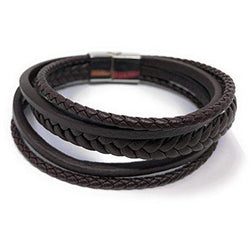 """REIGN"" Unisex Multi Layered Mix Braided Genuine Leather Bracelet (Brown) in a Luxury Gift Box."