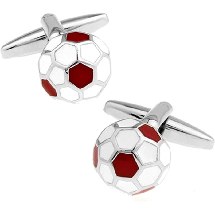 Red And White Football Cufflinks