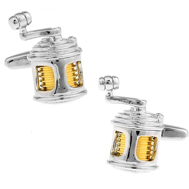 Fishing Reel in Gold and Silver Cufflinks