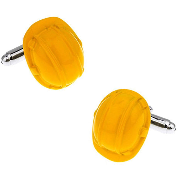 Yellow Builders Hard Hat Cufflinks