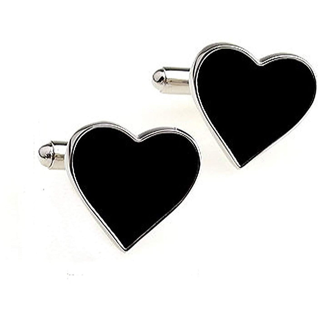 Silver and Black Heart Cufflinks