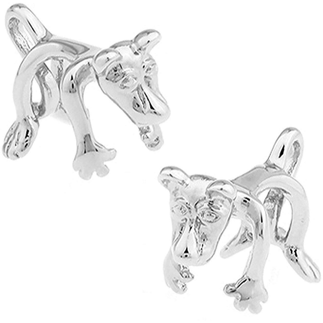 Silver Hound Dog Cufflinks