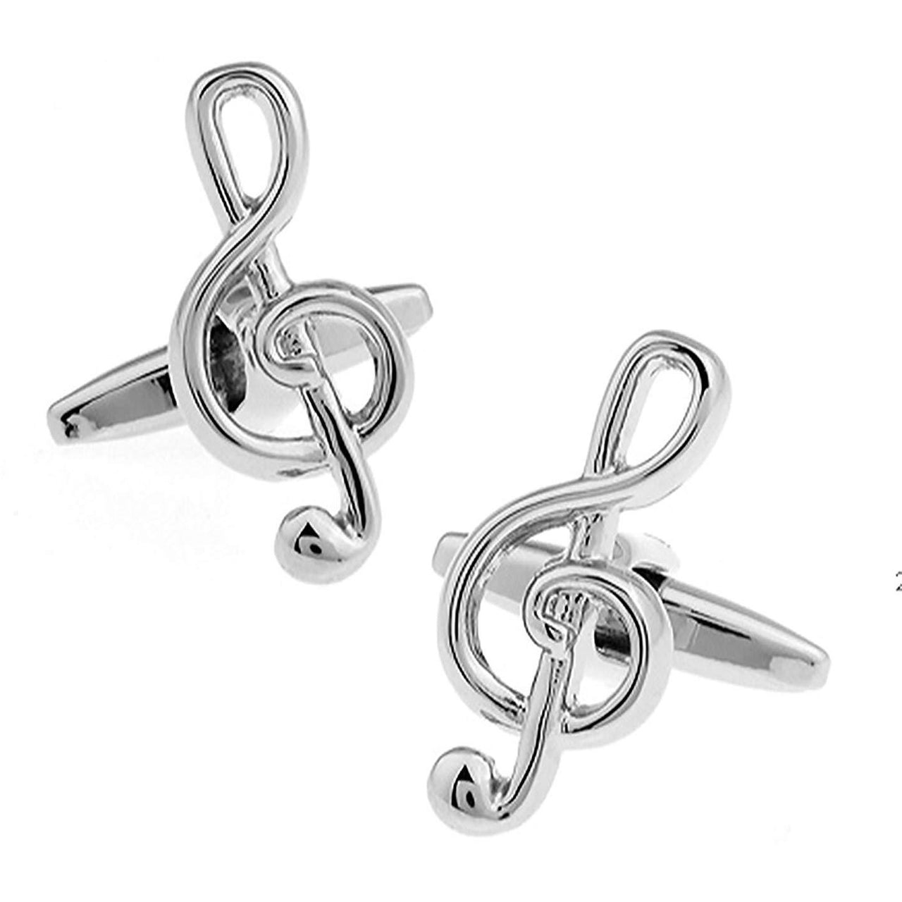 Silver Treble Clef Musical Note Cufflinks
