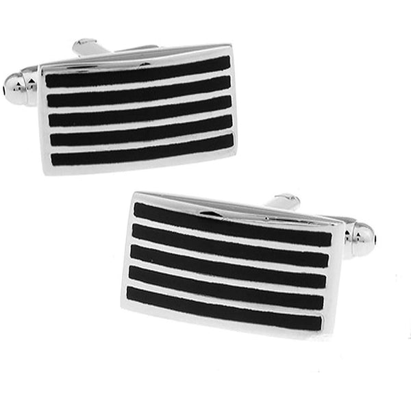Silver With Enamel Black Lines Cufflinks