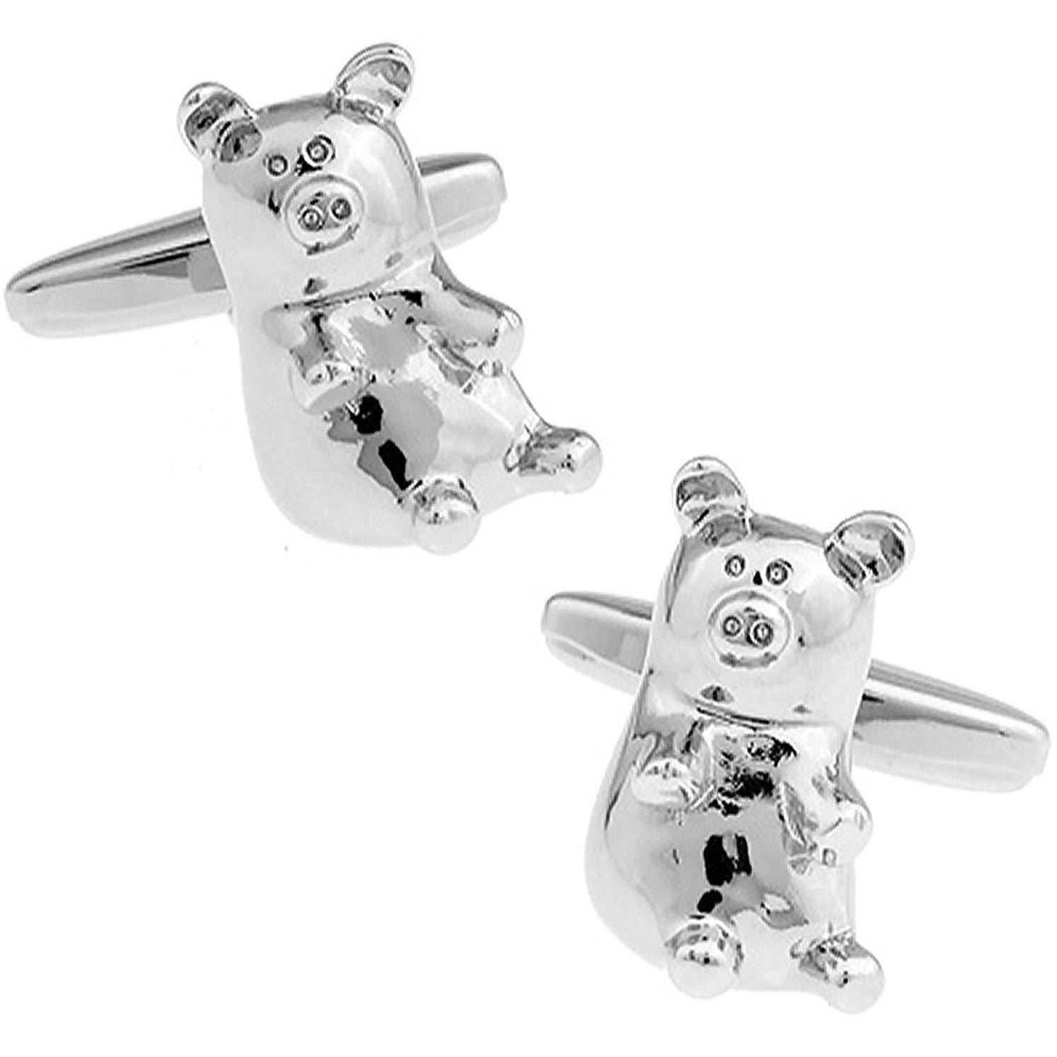 Cute Silver Laid Back Pig Cufflinks