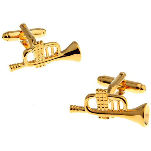 Gold Plated Brass Trumpet Cufflinks