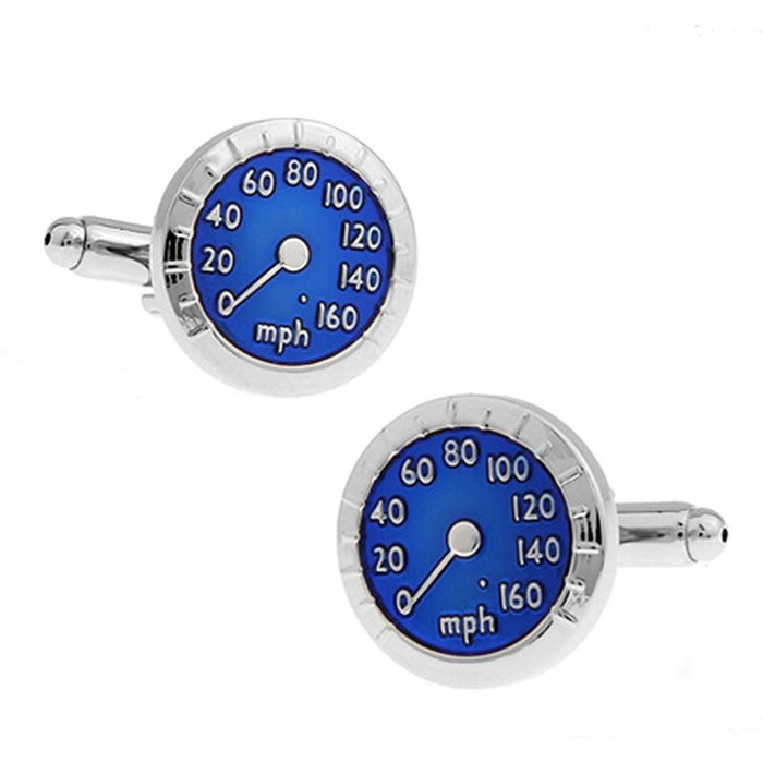 Silver and Blue Speedometer Cufflinks