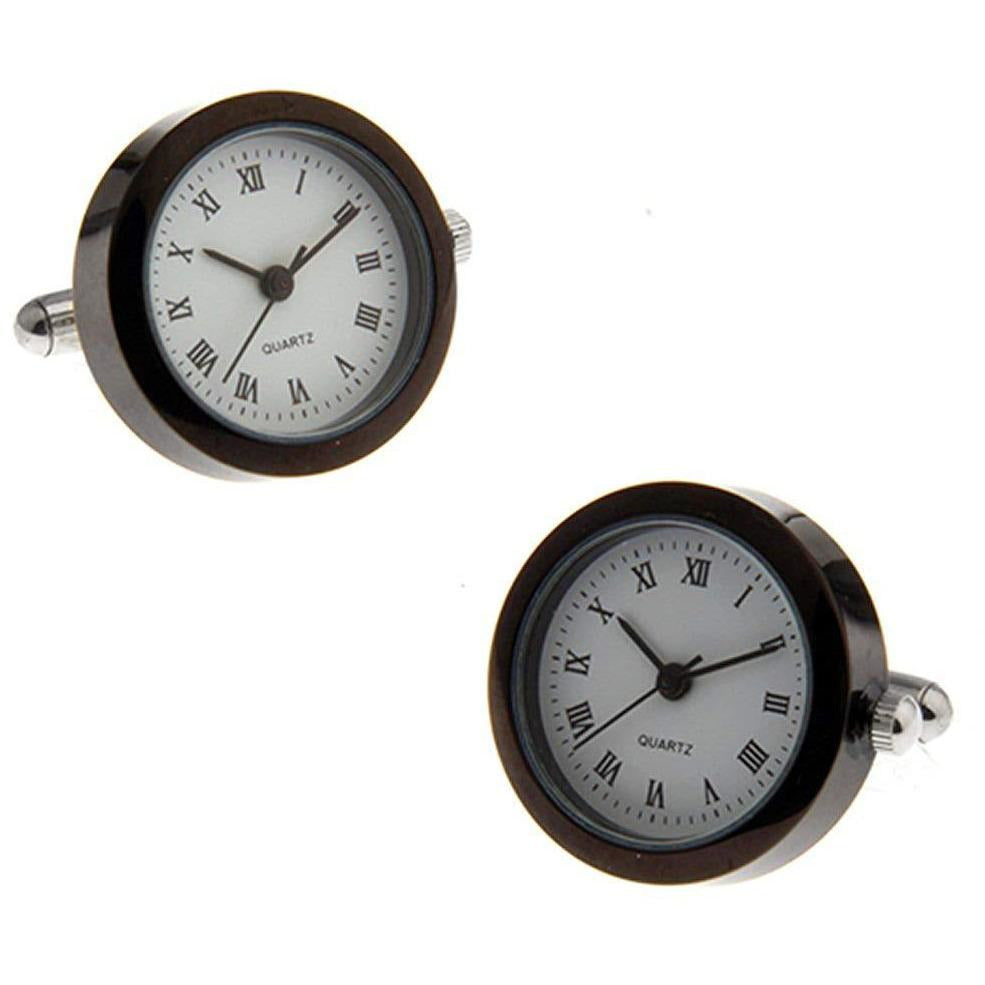 Black White and Silver Round Working Quartz Watch Cufflinks