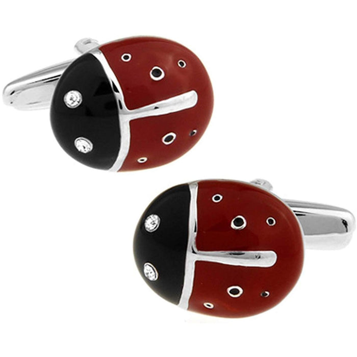 Red and Black Ladybird with Crystal eyes Cufflinks