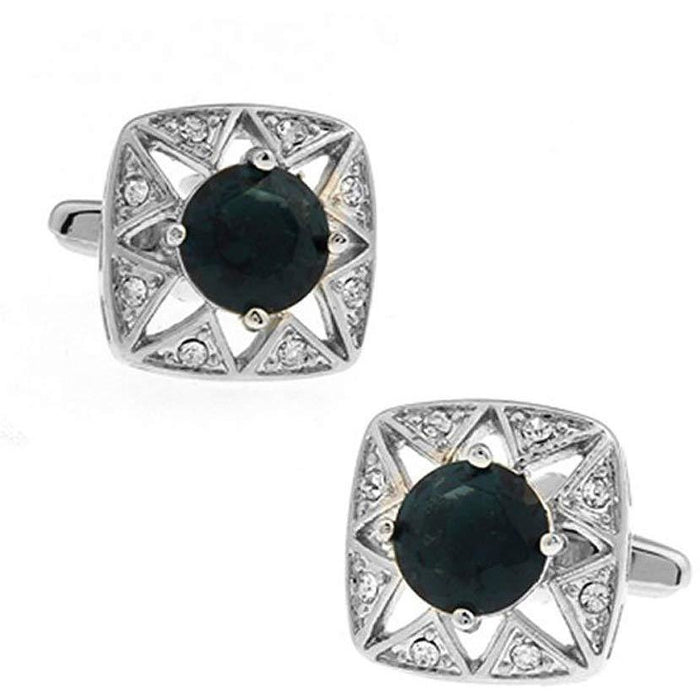 Black Crystal Rhinestone Cufflinks