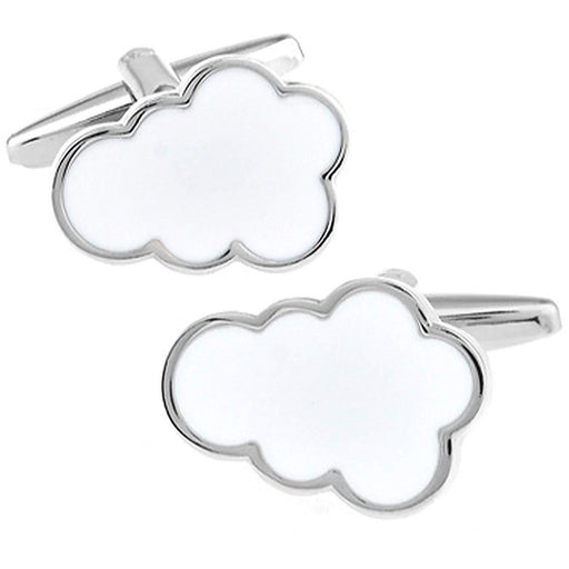 Silver and White Enamel Cloud Cufflinks