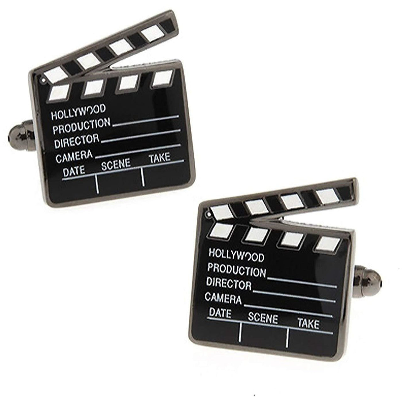 Silver and Black Film Clapper Board Cufflinks