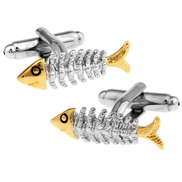 Skeleton Fish Bones Cufflinks In Silver and Gold