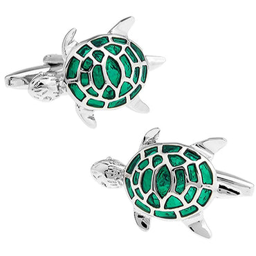 Silver and Green Turtle Cufflinks