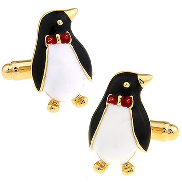 Black and Gold Emperor Penguin Cufflinks