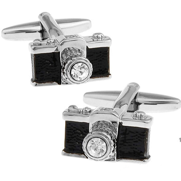 Black and Silver Crystal Lens Camera Cufflinks