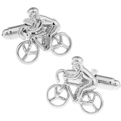 Silver Racing Cyclist Cufflinks