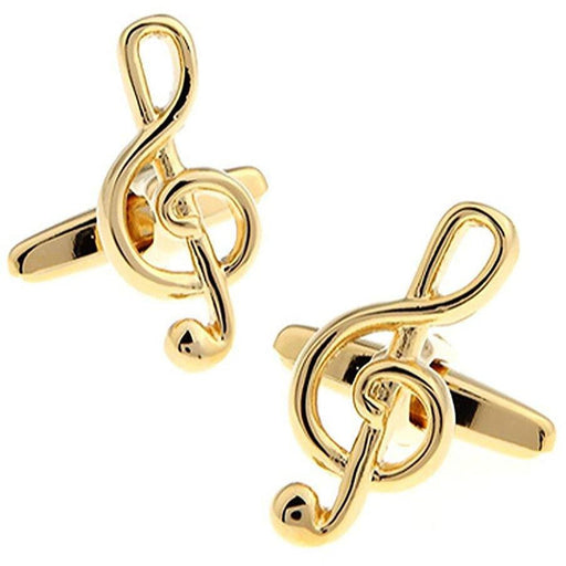 Gold Treble Clef Musical Note Cufflinks