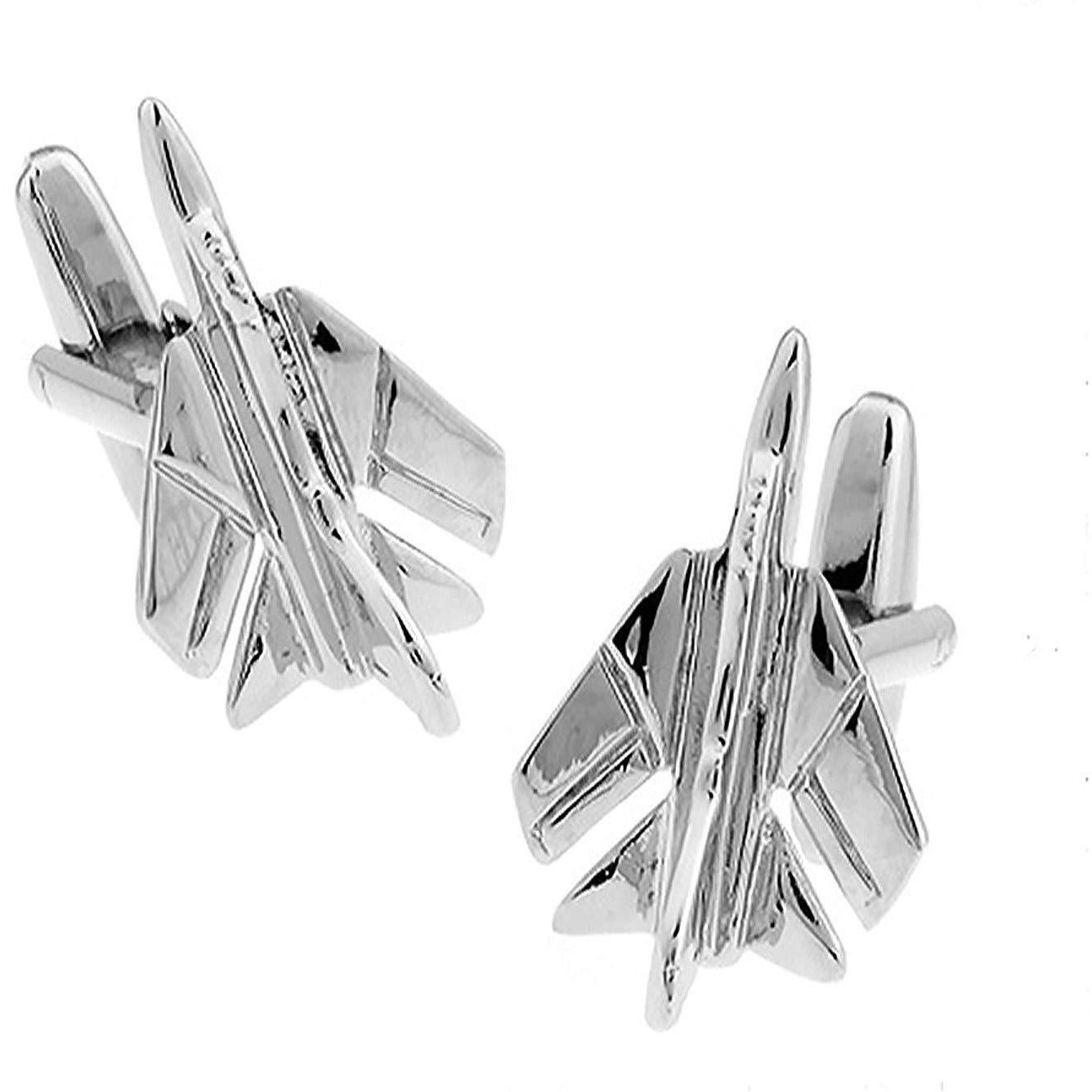 Silver Tornado Fighter Jet Aeroplane Cufflinks