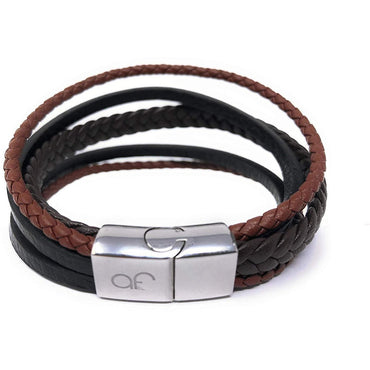 """REIGN"" Unisex Multi Layered Mix Braided Genuine Leather Bracelet (Black Tan and Brown) in a Luxury Gift Box."
