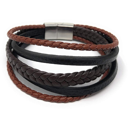 "Unisex"" REIGN"" Multi Layered Mix Braided Genuine Leather Bracelet"
