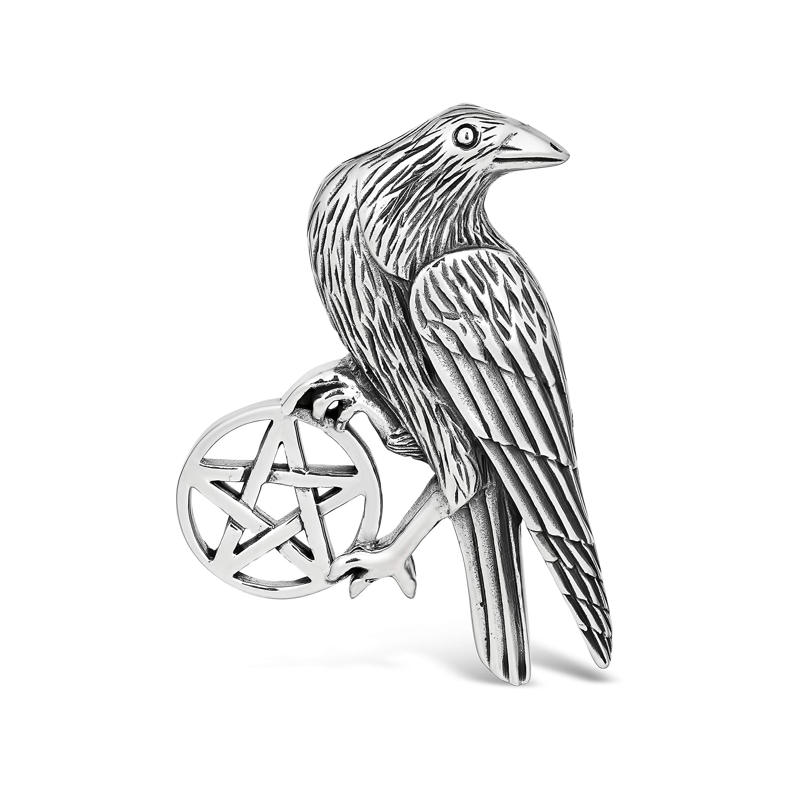 Sterling Silver Raven Pentagram Necklace