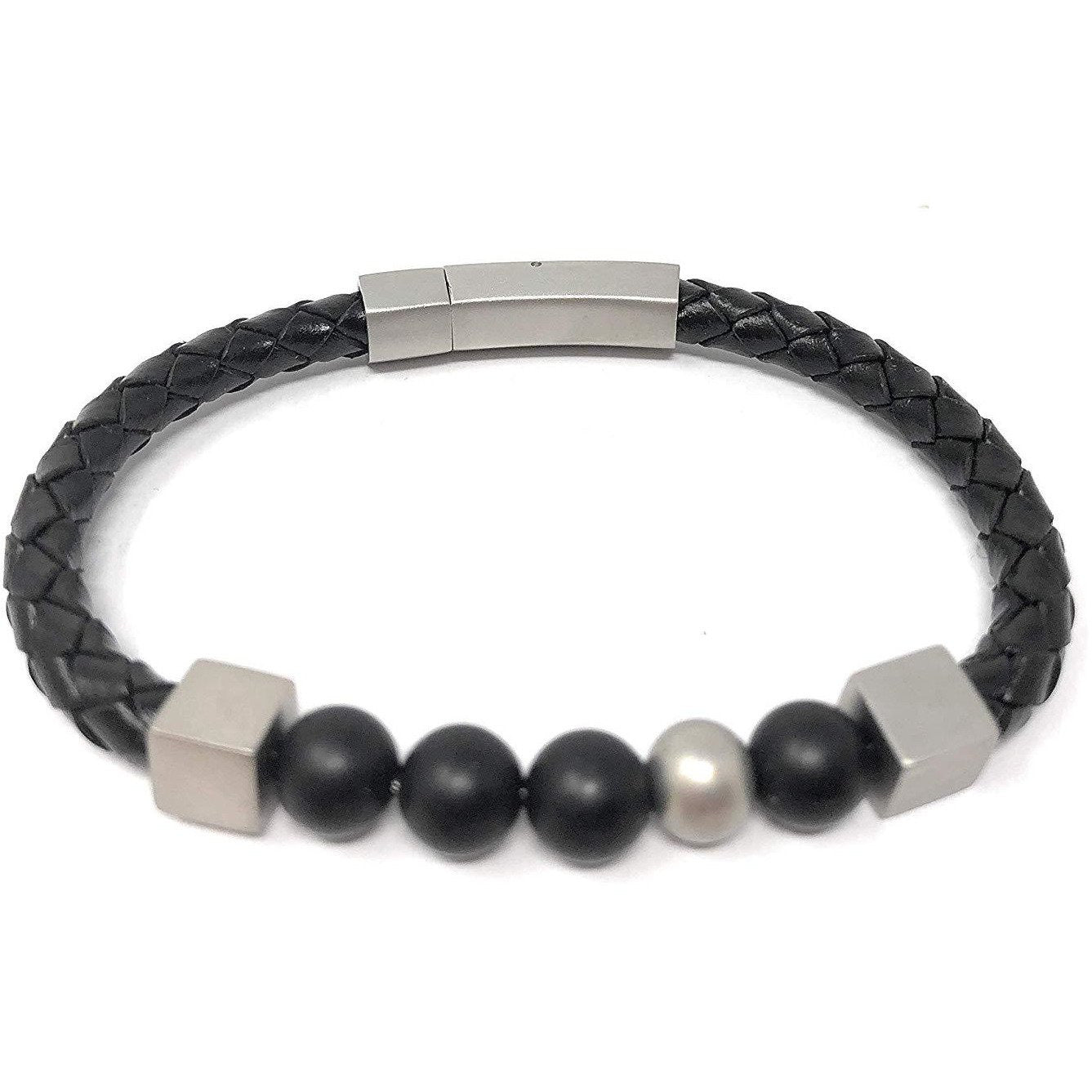 Beaded Unisex Leather Bracelet in a Luxury Gift Box.