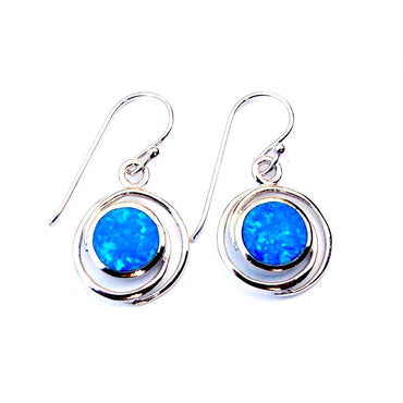 Sterling Silver Blue Opal Circles Earrings