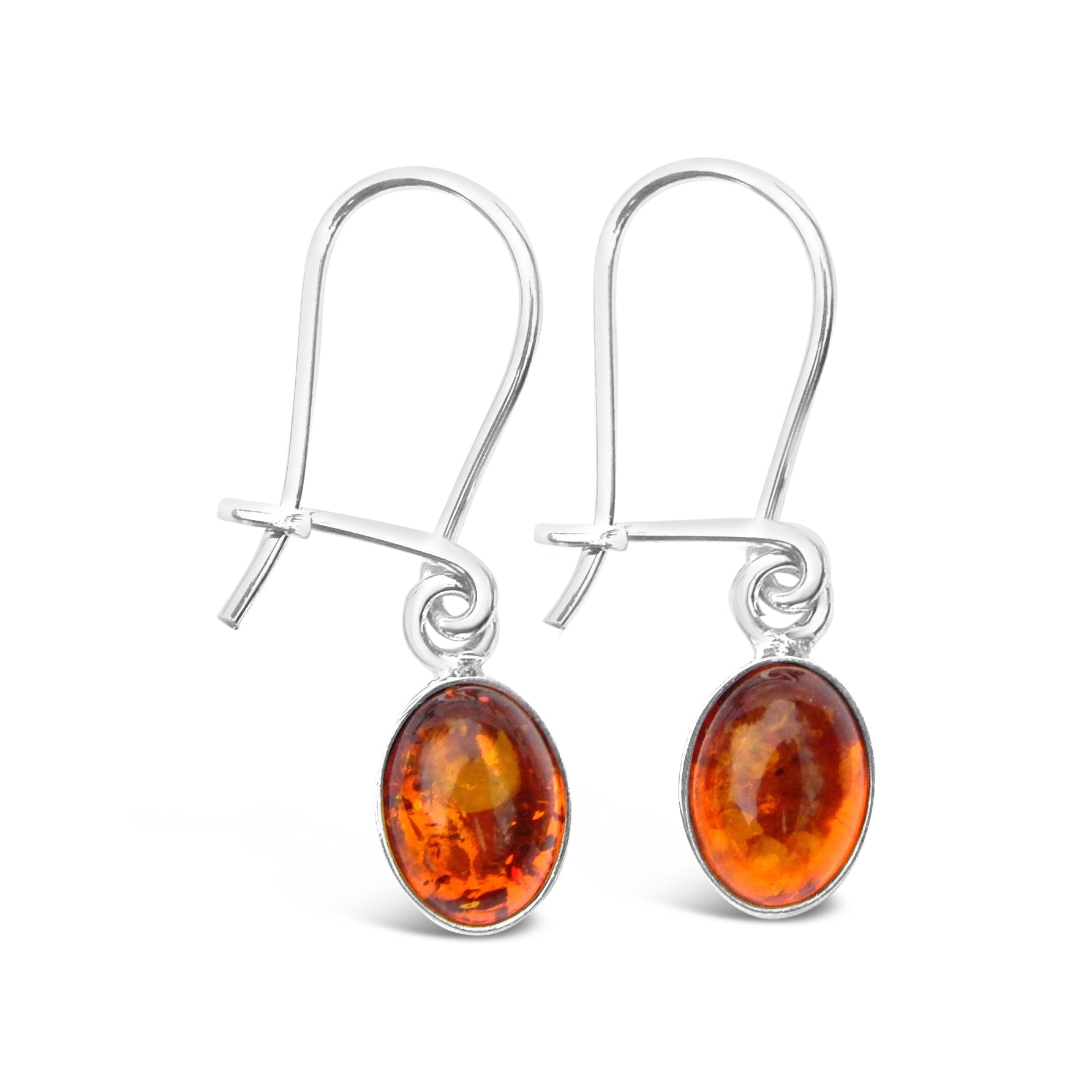 Sterling Silver Dainty Amber Oval Earrings