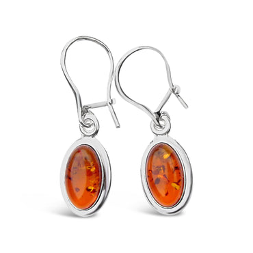Sterling Silver Amber Oval Cabochon Earrings